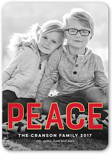 Big Stroked Peace Holiday Card, Rounded Corners
