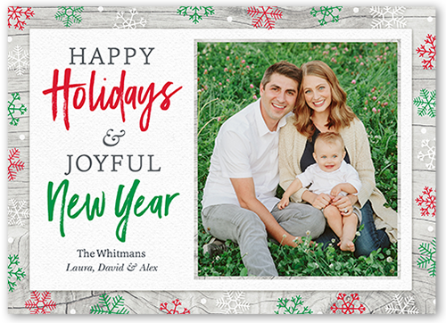 Whimsy Border Flurries Holiday Card