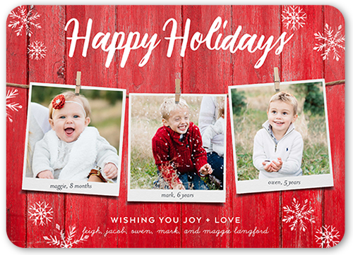 Rustic Hanging Greetings Holiday Card, Square
