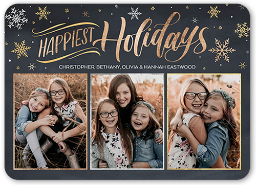 Rustic Flying Flurries Holiday Card