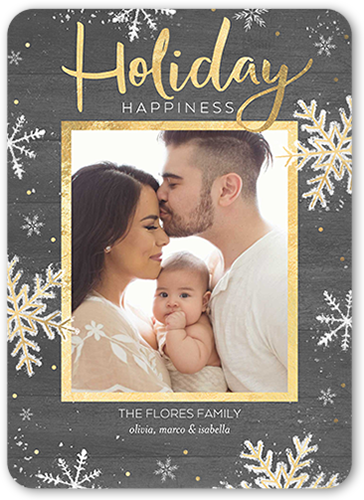 Simple Rustic Flurries Holiday Card, Rounded Corners