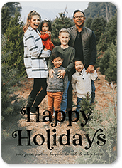 stamped greetings holiday card