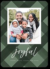 simple plaid joy holiday card