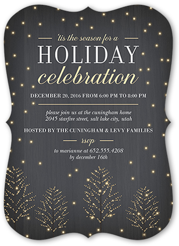 Glowing Trees Holiday Invitation