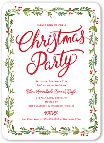 Bough Border Holiday Invitation, Rounded Corners
