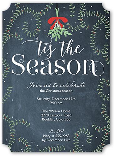 Swirly Mistletoe Holiday Invitation