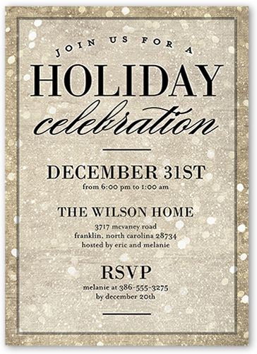 Sparkly Bokeh Holiday Invitation