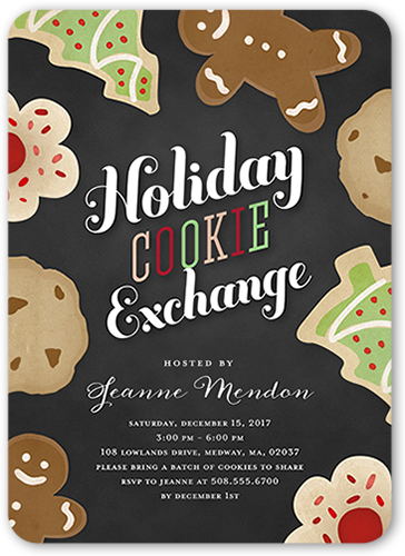 Festive Cookie Exchange Holiday Invitation, Rounded Corners