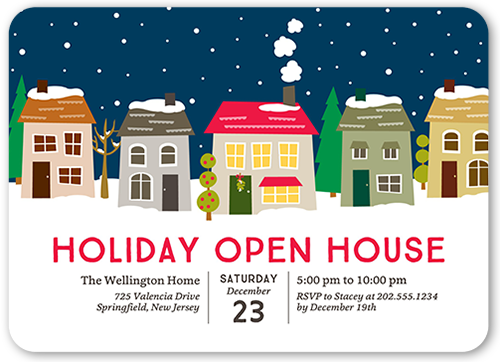snowy open house 5x7 holiday invitations