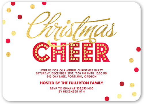 bold cheer confetti holiday invitation