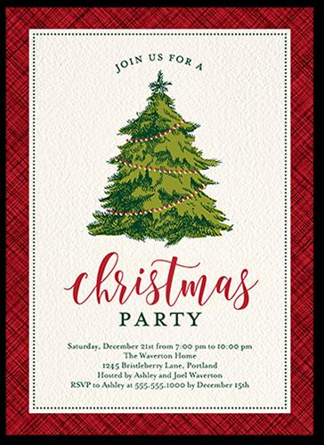 Framed Plaid Tree Holiday Invitation, Square Corners