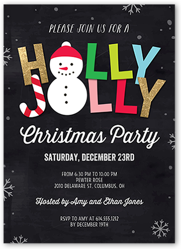 Holly Jolly Flurries Holiday Invitation, Square Corners