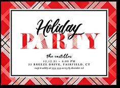 bright plaid party holiday invitation