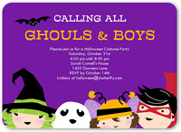 ghouls and boys halloween invitation 5x7 flat