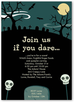 graveyard fun halloween invitation 5x7 flat