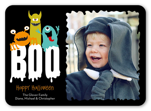 Boo Monsters Halloween Card, Rounded Corners