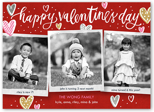 Charming Hearts Valentine's Card, Square Corners