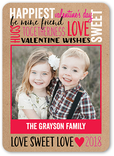 Rustic Love Valentine's Card, Rounded Corners