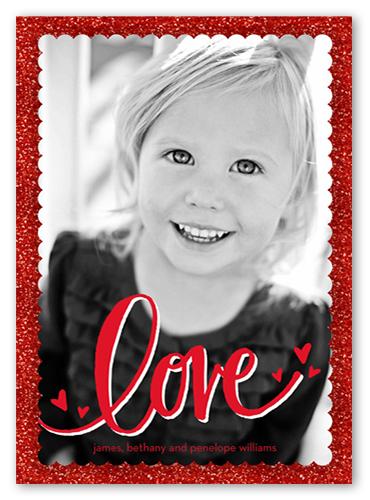 Glitter And Love Valentine's Card, Square Corners