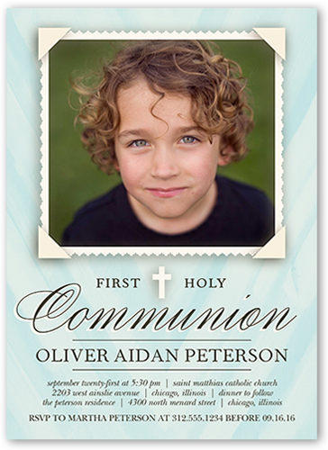 Holy Communion Boy Communion Invitation, Square