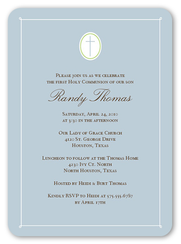Communion Cross Powder Communion Invitation, Square