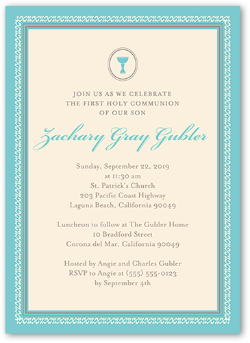 Framed Chalice Boy Communion Invitation by Blonde Designs