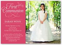timeless script girl communion invitation 5x7 flat