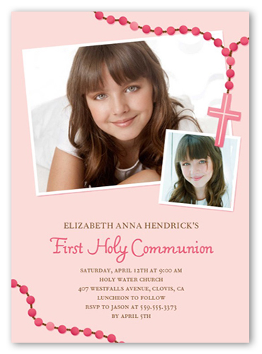 Prayer Beads Girl Communion Invitation, Square