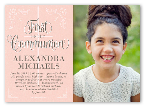 Decorative Borders Girl Communion Invitation, Square Corners