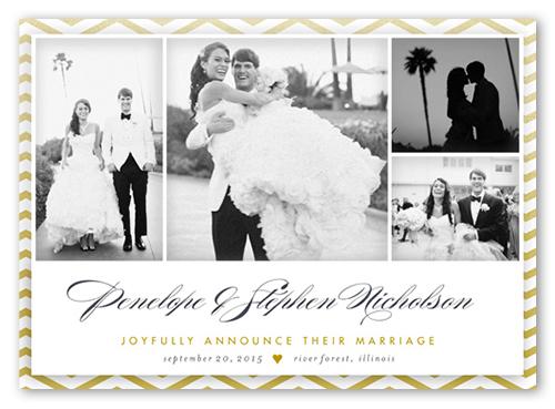 Foil Chevron Wedding Announcement, Square Corners