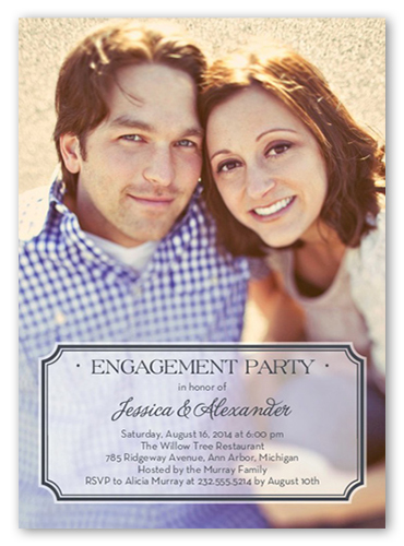 Stylish Affair Engagement Party Invitation, Square Corners