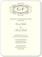 fancy monogram cream rehearsal dinner invitation 5x7 flat