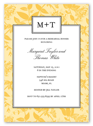 Botanical Bliss Rehearsal Dinner Invitation, Square