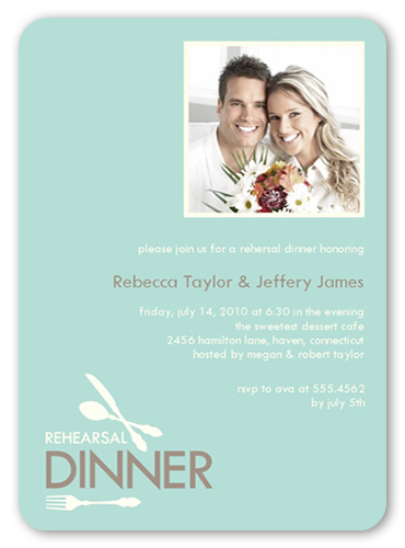 Dinner Setting Rehearsal Dinner Invitation, Rounded Corners