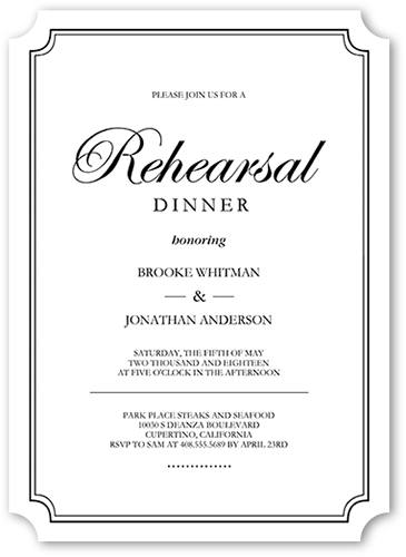 Elegant Commitment Rehearsal Dinner Invitation, Ticket Corners