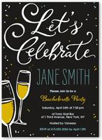 flutes and bubbles bachelorette party invitation 5x7 flat