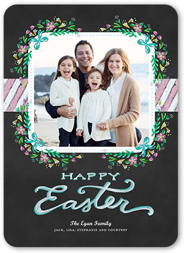 Floral Photo Frame Easter Card, Rounded Corners
