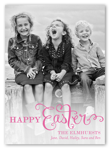 Script Overlay Easter Card, Square Corners