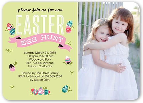 egg hunt banner easter party invitations shutterfly