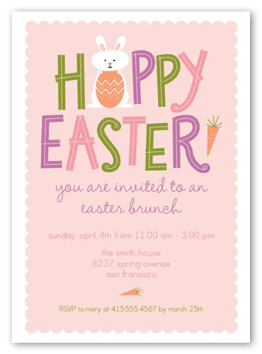 Little Bunny Rabbit Easter Invitation, Square Corners