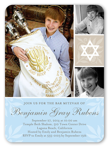 Floral Star Boy Bar Mitzvah Invitation