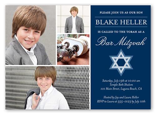 Boldly Shining Boy Bar Mitzvah Invitation, Square