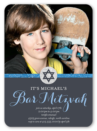 Sparkling Star Boy Bar Mitzvah Invitation, Rounded Corners