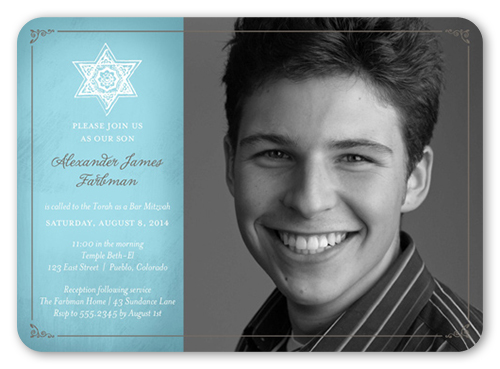 Star Rose Boy Bar Mitzvah Invitation, Rounded Corners