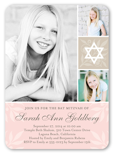 Floral Star Girl Bat Mitzvah Invitation, Rounded Corners