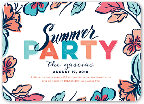 Festive Color Summer Invitation, Rounded Corners