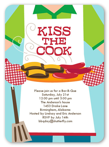 Kiss The Cook Summer Invitation, Rounded Corners