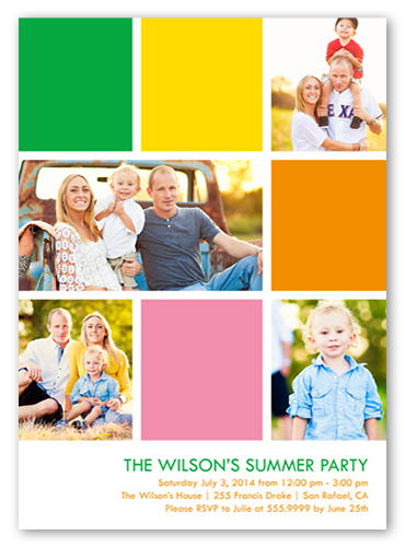 Modern Bright Blocks Summer Invitation, Square Corners