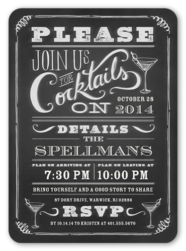 Chalkboard Cocktails Summer Invitation, Rounded Corners