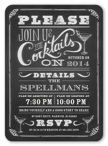 Chalkboard Cocktails Summer Invitation, Square